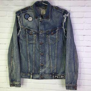 Volcom On The Road Denim Jacket Distressed Size M